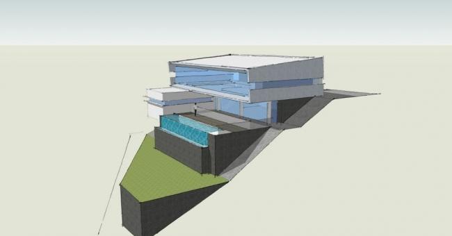 The steep hillside house house nerd for Down slope house plans
